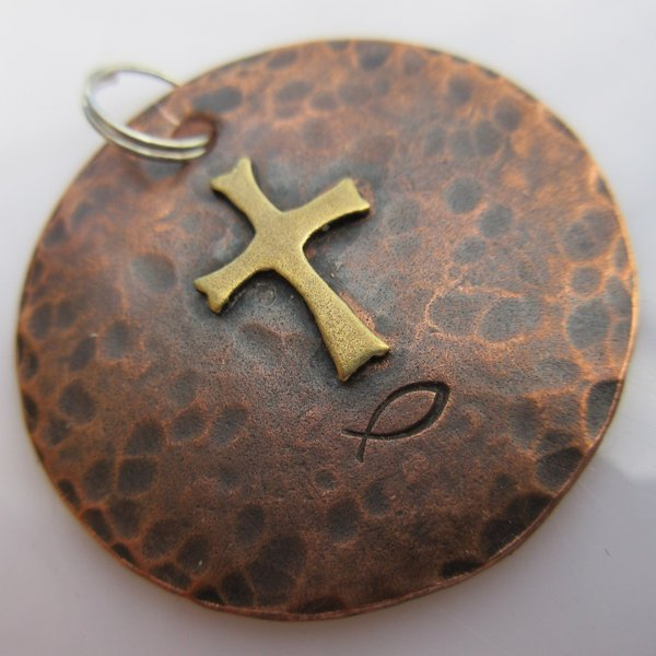 God & Country Cross Disc in Copper and Brass